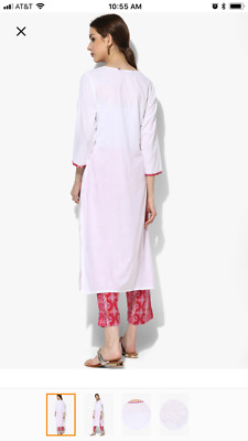 Sangria Round Neck Embroidered Solid Kurta With Straight Fitted Printed Pants