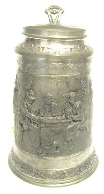 Vintage Pewter & Silver Plate Embossed Scene Beer Stein Personalized B Day Gift