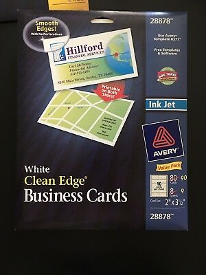 White Clean Edge Business Cards Avery 28878 For Inkjet Package Of 90