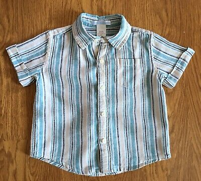 Janie and Jack baby boy shirt size 12-18 mos, linen blend blue stripe button up