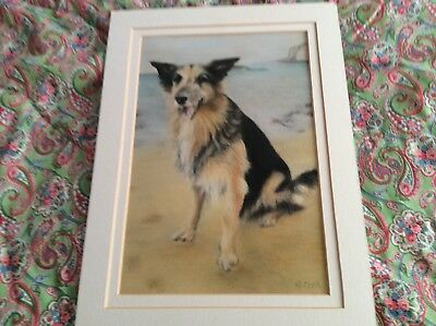 Pastel Picture Of A Dog, Original Not Print
