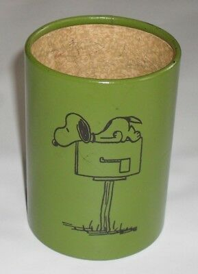 Vtg. Peanuts Snoopy Paper Cup Pen/Pencil/Brush Holder Schultz Charlie Brown Rare