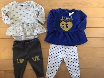b20937e6b Carters Infant Girls Gold Heart Baby Outfit 2 Pc Love Bodysuit Leggings Set  3 mo