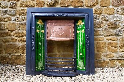 Antique Victorian Cast Iron Tiled Insert Fireplace with Brass Hood
