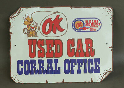 OK USED CARS Chevrolet Sign With Cowboy auto gas