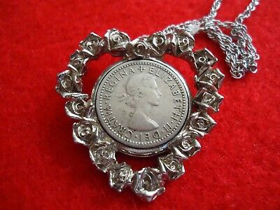 1954 UK SIX Pence COIN w/ Young QUEEN ELIZABETH Heart Shaped PENDANT Necklace
