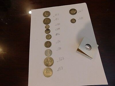 Mix Lot of 11 Foreign Coins - Total 1.57 Oz Silver - British France Mexico Dutch