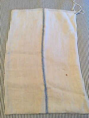 Antique GRAIN SACK Feed Sack European Blue Striped