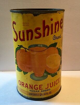 Vintage Orange Juice Can Advertising General Store Old Sunshine Griffin Georgia