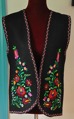 Artisan Made Black Embroidered Hungarian Vest Large