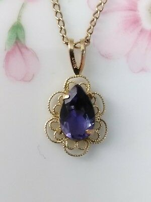 Vintage Antique 14K Yellow Gold Sapphire Filigree Pendant Necklace ~ 1.5 grams