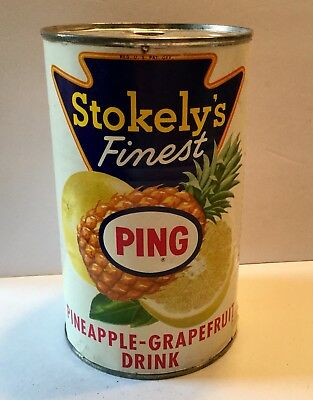 Vintage Juice Can Advertising General Store Stokely's Pineapple Ind Indianapolis