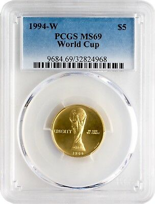 1994-W $5 World Cup Gold Commemorative Coin PCGS MS69