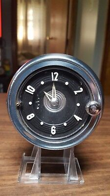 Vtg 50s CHEVY CAR DASH Clock PART TRUCK Chrome Trim New Haven Clock And Watch Co