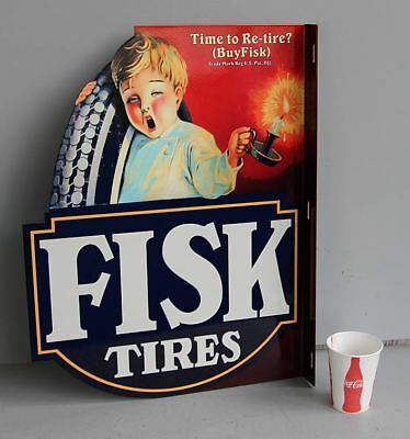 FISK TIRE FLANGE SIGN Kid w/Candle     Auto Car Gas Station modern retro