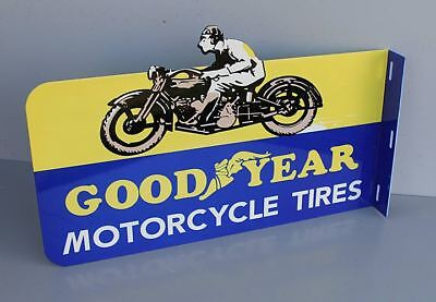 GOODYEAR MOTORCYCLE TIRES Flange Sign  Man Harley Indian gas oil Modern Retro
