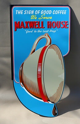 MAXWELL HOUSE COFFEE Diecut Flange Sign with Cup  Breakfast Shop    Modern Retro