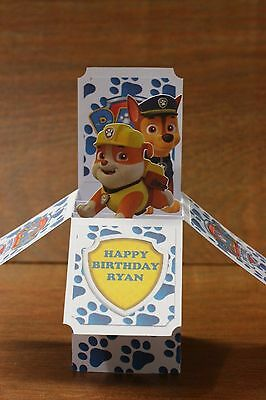 Handmade Card Paw Patrol Rubble and Chase card in a box *free post* personalised