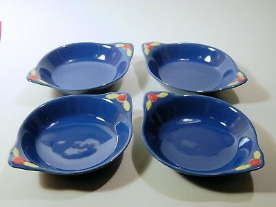 4 Coors Pottery ROSEBUD Blue Tab Handled Bowls, Nice Vintage Condition, NR