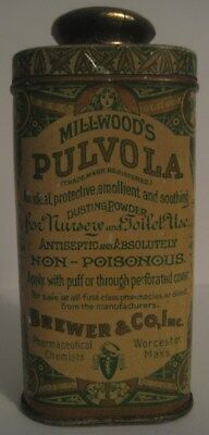 "Vintage Baby Powder Tin ""MILLWOOD'S PULVOLA""  BREWER & CO., WORCESTER, MASS / MA"