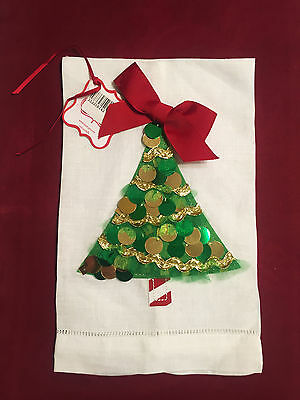 Christmas Fingertip Towel Mudpie Linen Towel with Green Sequin Tree Red Bow