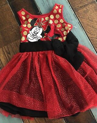 buy popular a0e99 21682 Minnie Mouse Toddler Girl Disney Dress Red Tulle Gold Polka Dot Black Bow  18 M