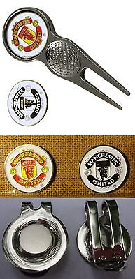 2 Only MAN. UTD  GOLF BALL MARKERS + A QUALITY DIVOT TOOL & hat clip