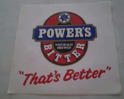 Great old beer sticker- LARGE  30CMS HIGH For the mans shed  POWERS BITTER