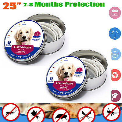 "2PCS Excelvan 25""Dog Flea and Tick 6-Month Collar for Dogs Waterproof Adjustable"