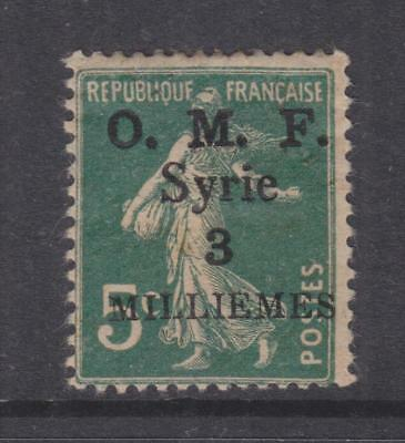 SYRIA, 1920 thick OMF 3m. on 5c. Blue Green, lhm.