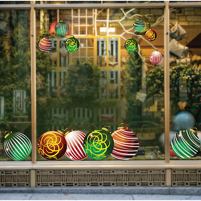 Christmas Bauble Shop / Home Window display decorations Reusable Sticker Kit x18