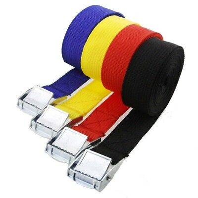 Tie Down Strap Strong Ratchet Belt Luggage Bag Lashing w/ Metal Buckle 6 Colors