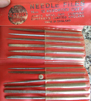 Tg= Antiguo Juego De 12 Limas Relojero James Neill Sheffield Stubs Needle Files