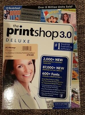 Printshop 3.0 Deluxe Desktop Publishing Software Edit & Design CAD Windows PC