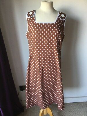 Vintage Retro Polka Dot Dress 1950'/60's Brown And White 16 Rockabilly Cotton