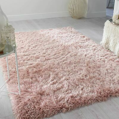 Dazzle Sparkle Super Soft Silky Thick Long Pile Modern Shaggy Rugs Blush Pink