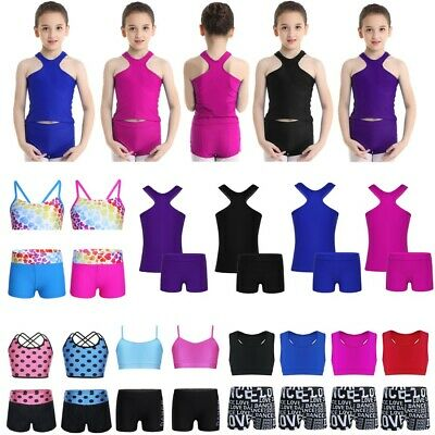 Girls Dance Sport Outfits Active Gym Leotard Crop Top Short Kids Tankini Workout