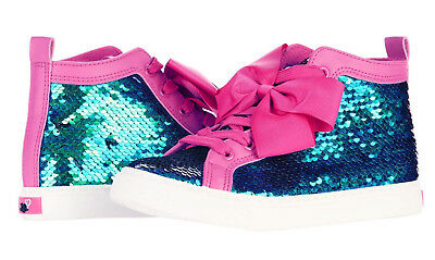 Licensed Jojo Siwa Girls Sequin High Top Boots Sneakers With Jojo Hair Bow