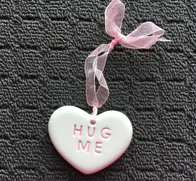"HUG ME ""Pink & White"" Love Heart Shaped Ceramic Hanging Charm Plaque"