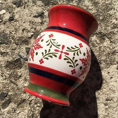 "FOLK ART ""Red & White"" Beautiful Glazed Ceramic Salt Shaker Seasoning Dispenser"