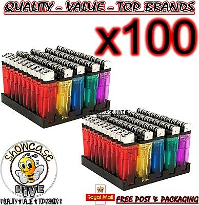 100 Disposable Lighters Adjustable Flame Child Safety New In Retail Packaging