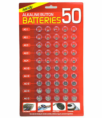 50pc Assorted Alkaline Button Cell Battery Set/Pack Camera Watch Calculator Fob
