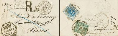 Italy COVER. Yv 57, 61. 1897. 5 cts green and 25 cts blue (franked on reverse).