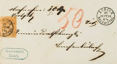 Switzerland COVER. Yv 29b. 1858. 20 cts orange DOUBLE SILK THREAD (on top and b