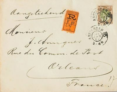 Netherlands COVER. Yv 58. 1907. 22 ½ cts brown and olive. Registered cover from