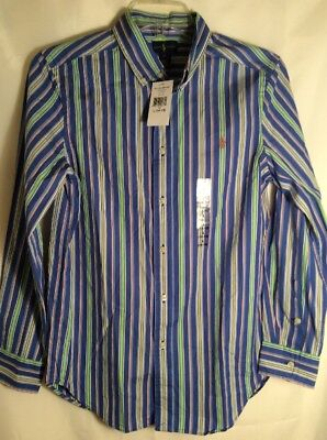 Ralph Lauren Polo Youth Large (14/16) Multi Color Striped Dress Shirt L/S New