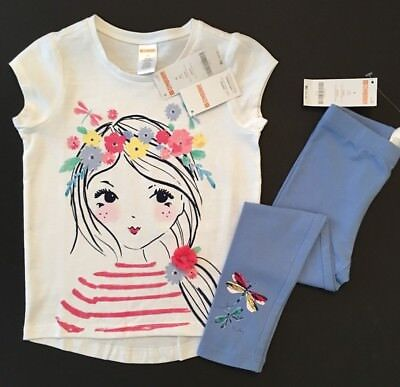 NWT Gymboree Girls Tee & Leggings Flower Girl Dragonfly Outfit 4 5 10