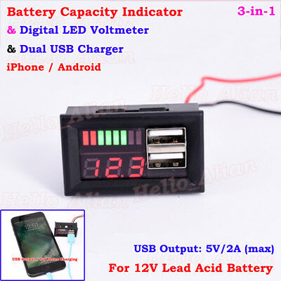 12V Lead Acid Battery Capacity Indicator Voltage Panel Meter USB Charger Car DIY