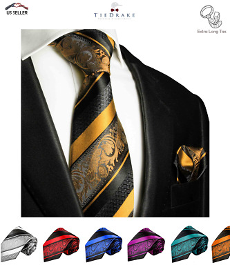 Extra Long Paul Malone Men's Tie and Pocket Square Set