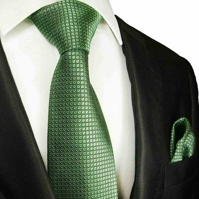 Solid Microchecked Men's Tie and Pocket Square Set by Paul Malone